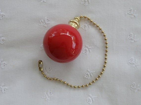 True Red- Pottery Ball Ceiling Fan Pull - Handmade in the USA - Brass Hardware