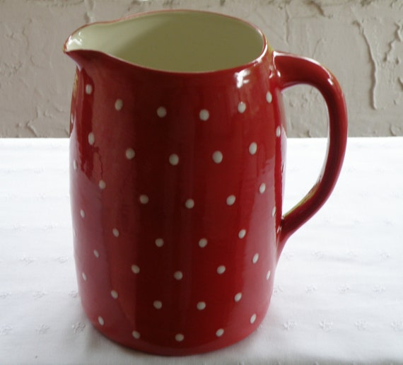 Red With White Polka Dots Large Water Pitcher - Vintage/Primitive  Style -  New Pottery -  USA MADE