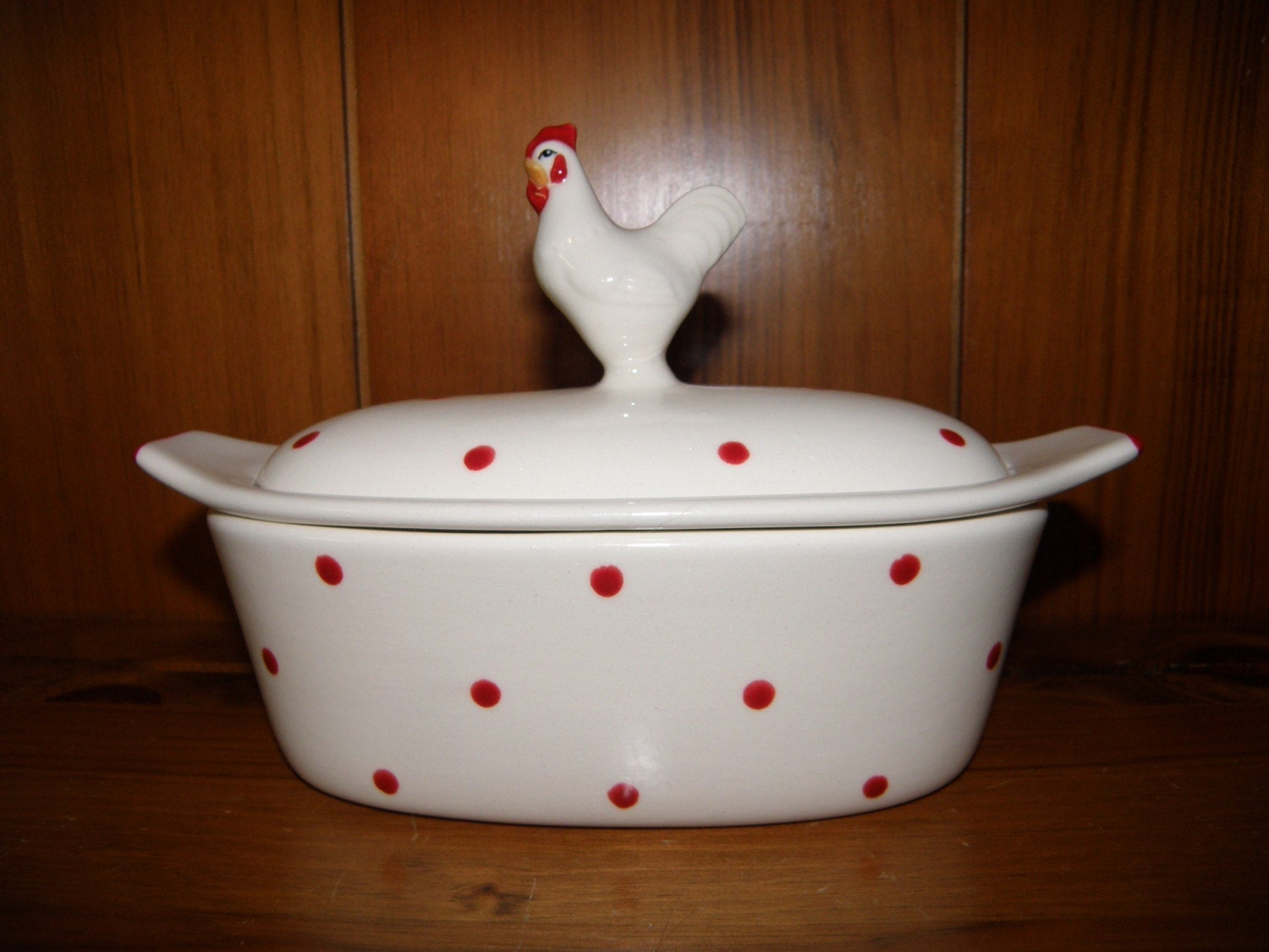 Retro Rooster Butter Boat Keeper 3 Piece Red White Polka