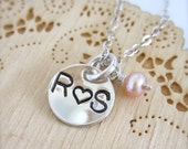 Couples initials necklace - sterling silver love necklace, couple jewelry, boyfriend girlfriend necklace, marriage jewelry