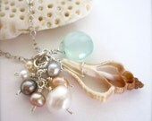 Sea shell and chalcedony beach necklace