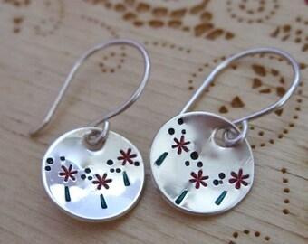 Red Poppy field earrings  - Handstamped flower earrings