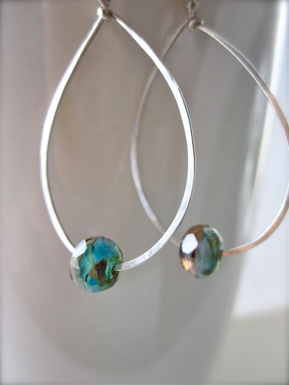 Sterling silver hoop earrings - by Tidepools Jewelry