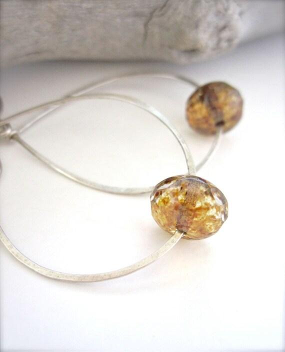 SALE // Sterling silver hoop earrings with amber