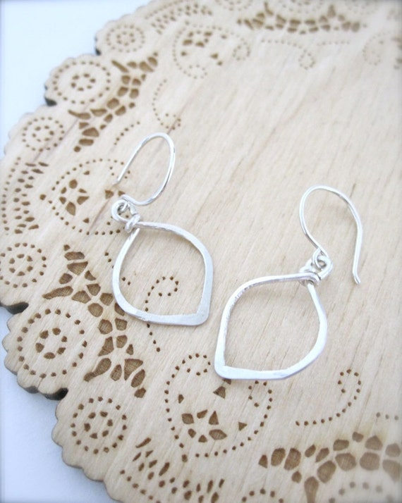 RESERVED for Heather -  Simple sterling silver leaf earrings