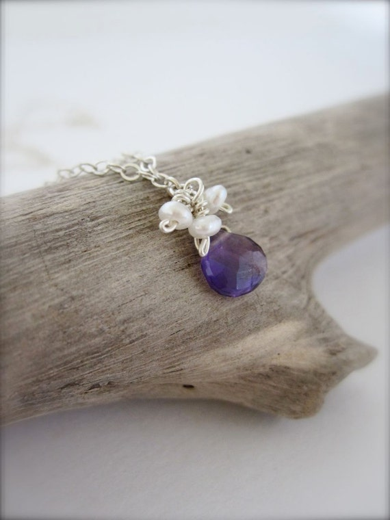 SALE // Amethyst and pearl sterling silver necklace
