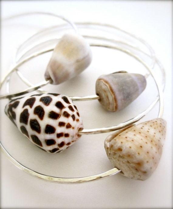 Cone shell sterling silver bracelets - Pick your shell