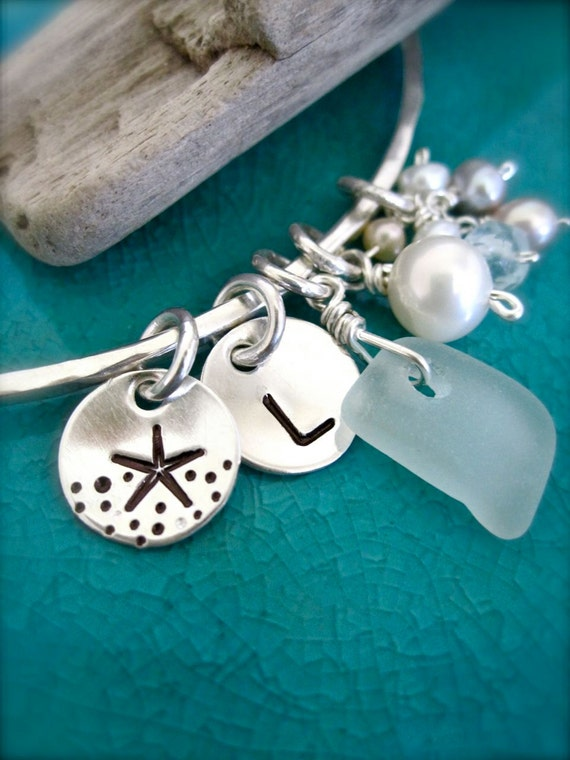 Sea glass and starfish hand stamped charms bracelet with initial