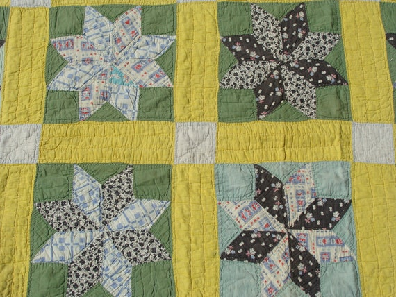 Antique Quilt .... Depression Era .... Feedsack .... 8 Point Star