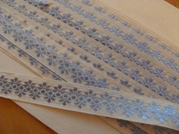 LAST 3 yards of Vintage Ribbon Trim ... Blue & White ...NOS