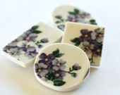 Broken China Magnets - Purple Flowers - Recycled Plates -  Set of 4