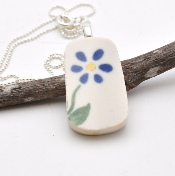 Broken China Pendant - Cobalt Blue Flower - Recycled Plate -