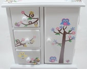 Owls and Birds Personalized musical jewelry box for girls - NanyCrafts