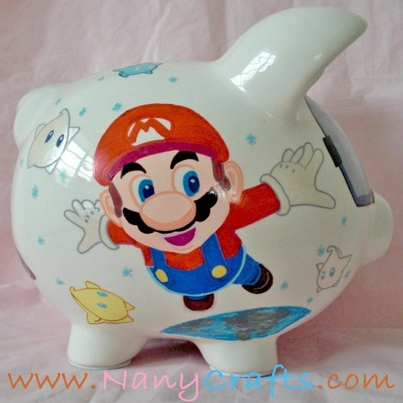 Personalized kids piggy bank design super mario by nanycrafts for Piggy bank for toddlers