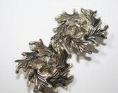 Vintage Earrings Silver Oak Leaf Wreath Clip Ons