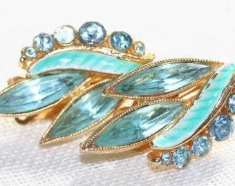 Earrings 1950s Elegant Blue Enameled Rhinestone Price Reduced