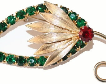 Brooch Leaf and Fronds Green Rhinestone Crystals