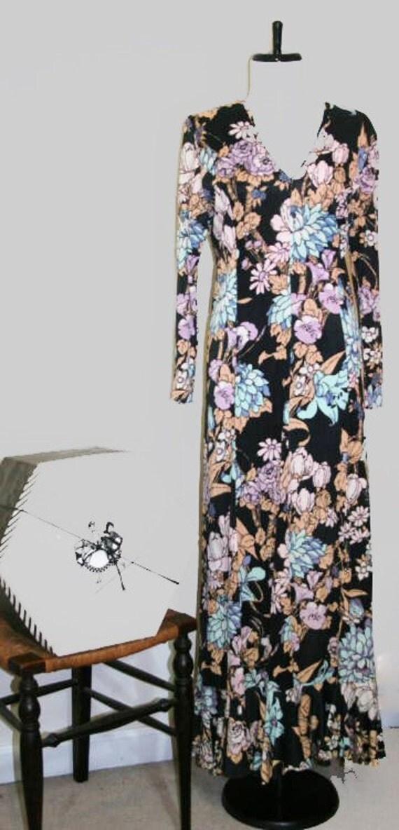 Vintage 1970s  Designer Maxi Dress