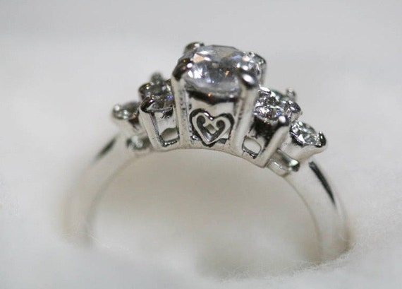 Platinum and Diamond Ring, Cut Work Hearts, Wedding Ring, Engagement Ring, Estate Style Ring