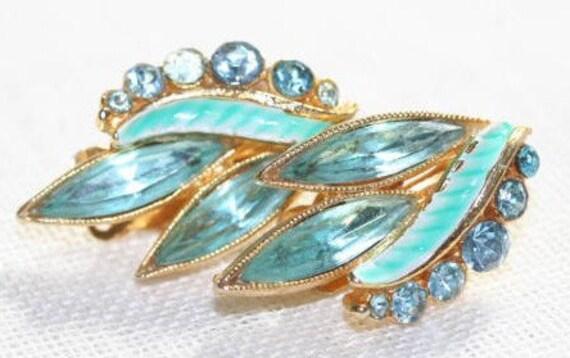 Earrings 1950s Elegant Blue Enameled Rhinestone Price Reduced