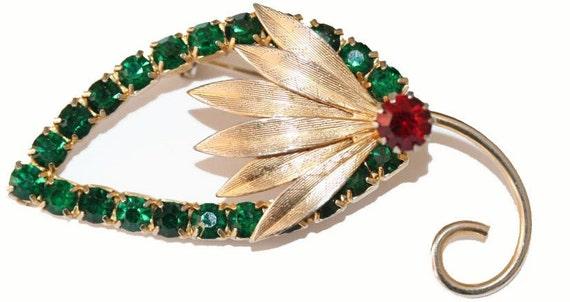 Brooch Leaf and Fronds Green Rhinestone Crystals