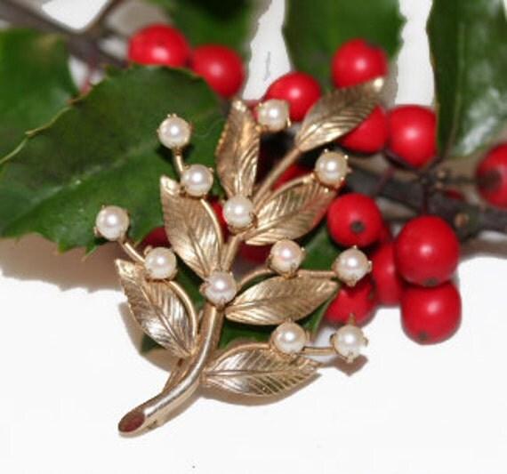 Brooch 1950s Elegant Pearl Tree Brooch