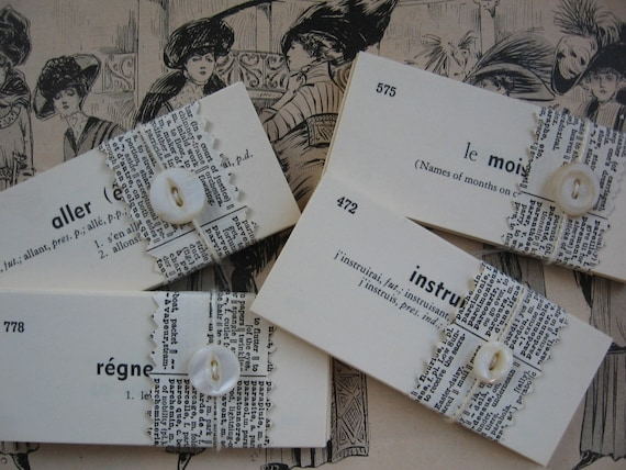 25 Vintage French Vocabulary Cards - Flashcards
