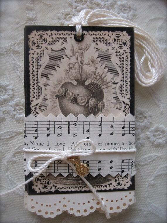 French Flea Market  Tags - Sacre Coeurs de Marie- Sacred Hearts of Mary