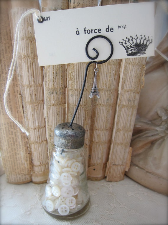 Vintage Etched Glass Salt Shaker Photo Holder - Place Card Holder