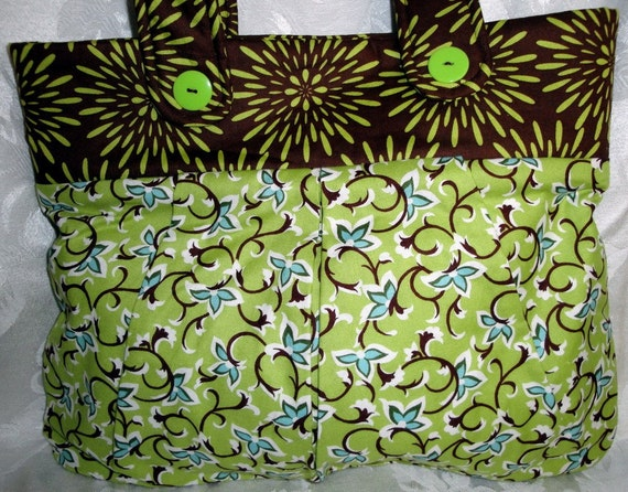 Clearance Fabric Handbag in Green and Brown with Blue Abstract Flowers