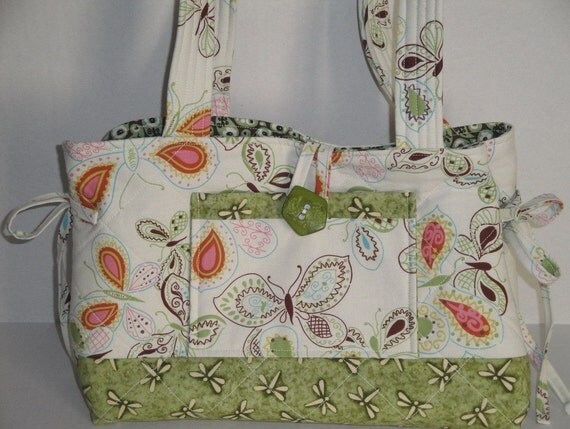 Clearance Handbag with Butterflies in Green and White