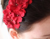 Lipstick Red- A Spunky Red Floral Headband- Free Shipping