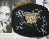 Steampunk Frog Skeleton Emblem Brooch - Black White Gold Monochrome Embroidery