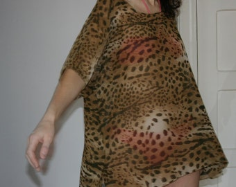 Sheer Chiffon Beach Cover Up Animal Print Caftan Kaftan Tunic Top SMALL MEDIUM, ready to ship