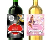 personalize Printable pinup wine pop label digital custom Birthday bachelorette bridal shower etc matches invitations