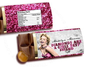Marilyn Monroe Printable chocolate bar candy label for bridesmaid gift bachelorette birthday party