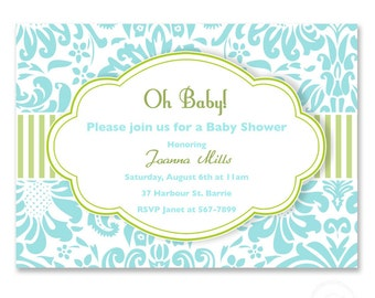 Printable baby shower or birth announcement invitation or birthday pink,  blue or any color and more patterns DIGITAL