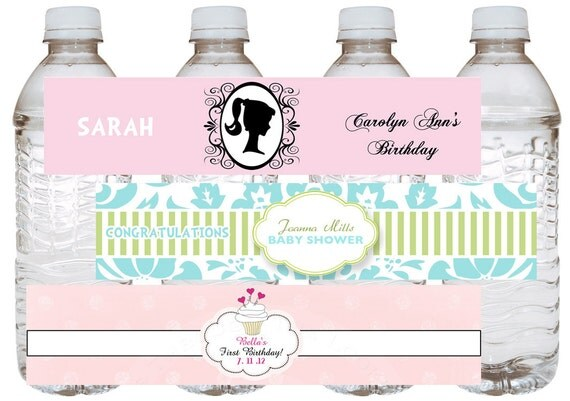 Printable digital water bottle label pop First Birthday shower barbie label matches invitations in shop