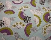 RESREVED.... Vintage Fabric - Oriental Fans on Light Blue - 9 yards