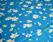 Vintage Fabric - White and Yellow Daisies on Aqua Blue - Cotton Canvas 44 x 44