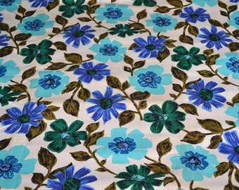 Vintage Fabric - Mod Turquoise Blue Flowers and Vines Print - 49 x 49