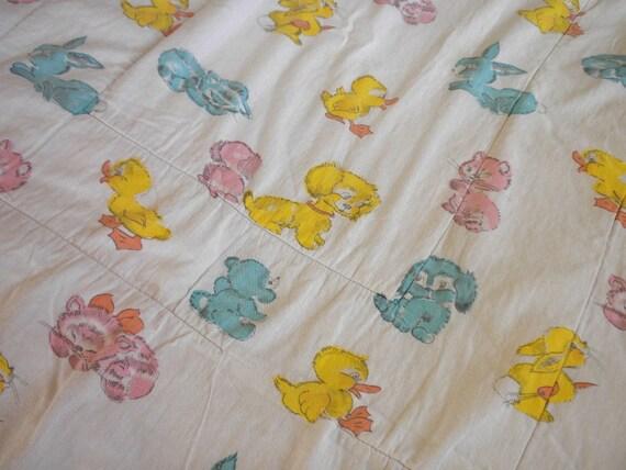 Vintage Baby Quilt Blanket - Bunnies, Kitties, Doggies and Duckies