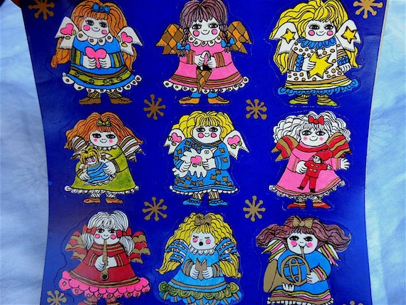 Vintage Christmas Stickers - A Sheet of 9 Mod Angels