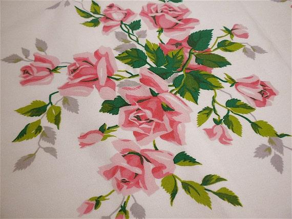 Vintage Wilendur Tablecloth - Pink Long Stem Roses