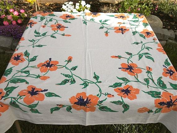 Vintage Tablecloth - Orange Hibiscus - 46 x 48