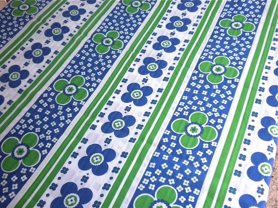Vintage Fabric - Blue and Green Mod Daisy Stripe - By the Yard