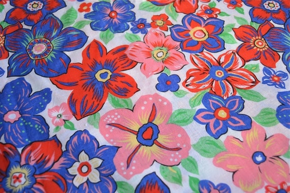 Vintage Fabric - Pink Red and Blue Floral - By the Yard