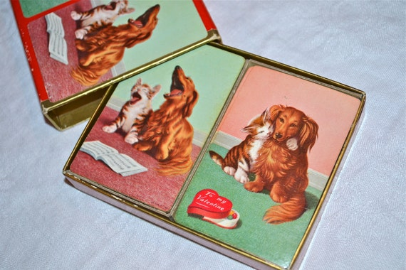 Vintage Midway Playing Cards - Double Deck - Dog and Cat from the 1950s