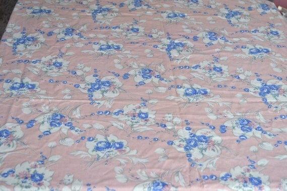 Vintage Flannel Fabric - Lovely Blue Roses on Pastel Pink - 45 x 57 Wide