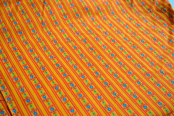 Vintage Fabric - Tole Stripe Flowers in Orange - 45 x 36  Cotton Canvas
